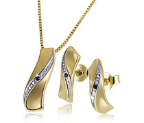 Set Halskette + Ohrringe Gelbgold mit Saphir