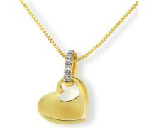 Halskette Gelbgold 585 4 Diamanten 0