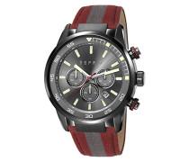 alarich Armbanduhr Quarz mit grau Zifferblatt Chronograph-Anzeige und rot Nylon Gurt es108021002