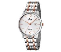 Quarz-Uhr mit weißem Zifferblatt Analog-Anzeige und Silber Edelstahl vergoldet Armband 18176/2