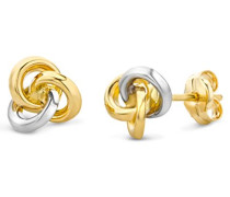 Ohrringe Bicolor Gelbgold/Weißgold 14 Karat/585 Gold Ohrstecker