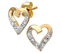 Ohrstecker 9 Karat Herz 375 Gelbgold teilrhodiniert Diamant 0