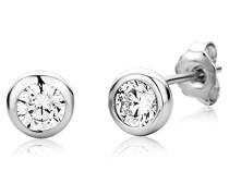 Ohrringe Ohrstecker Silberfarbig 925 Sterling Silber Solitär mit Rundschliff Zirkonia Steinchen