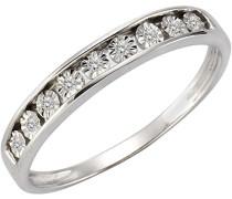 Ring 925 Sterling Silber teilvergoldet Amethyst lila Rundschliff Diamant 0.01 ct