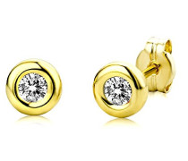 Ohrstecker 9 Karat – Glänzende Ohrringe aus 375 Gelbgold mit 2 farblosen Zirkonia-Steinen – Ohrschmuck klein Ø 5