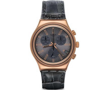 Herren-Armbanduhr Chronograph Quarz Leder YCG411