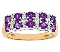 Damen-Ring 9 K Gelbgold Diamant Amethyst
