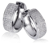 Damen-Creolen 925 Sterling Silber - weiß Zirkonia