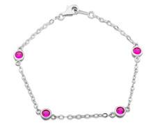 Armband 925 Sterling Silber 19 cm rhodiniert Zirkonia pink Rundschliff - MS011B