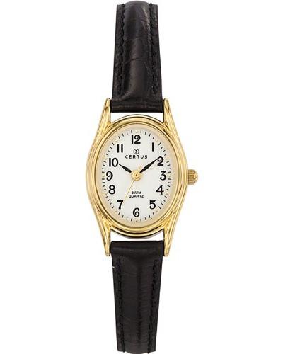 – 646541 Armbanduhr – Quarz Analog – Weißes Ziffernblatt – Armband Leder Schwarz