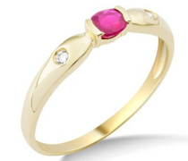 Ring Rubin und 2 Brillanten 9 Karat 375 Gelbgold