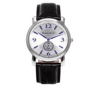 Quartz Armbanduhr von für Männer mit Original Schweizer Uhrwerk mit Silberfarbenem Zifferblatt Analoger Anzeige und Schwarzem Armband aus Leder BSSM206