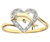 Damen-Ring 9 K 375 Gelbgold 19 Diamanten