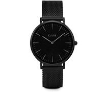 Armbanduhr Analog Quarz Edelstahl, schwarz