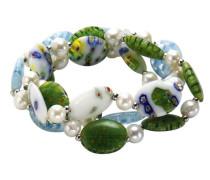 Fashion Armband Metall synthetisches Murano Glas weißen Perlen 3-reihig silberfarben 373060002