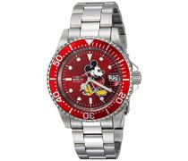 24759 Disney Limited Edition - Mickey Mouse Uhr Edelstahl Automatik roten Zifferblat