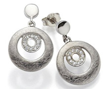 Ohrstecker 925 Silber rhodiniert mattiert Zirkonia weiß - 790044