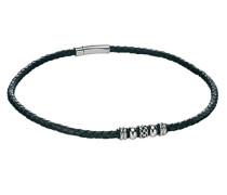 Halsband Edelstahl Leder schwarz N3452 Collier aus Edelstahl mit schwarzem Leder und keltischen Perlen