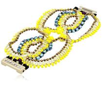 Damen Armband gelb blau Messing 1727