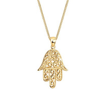 Schmuck Halskette Kette mit Anhänger Hamsa Hand Fatima Spirituell Evil Eye Silber 925 Vergoldet Länge 45 cm