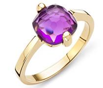 Ring 9 Karat (375) Gelbgold Amethyst Quartz 1.5 ct. Quarz lila Quadratschliff