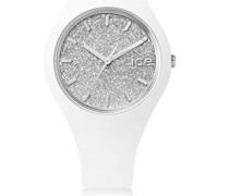 ICE glitter White Silver - Gold Damenuhr mit Lederarmband - 001344 (Small)