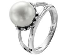 Damen-Ring 925 Silber rhodiniert Muschel Weiß