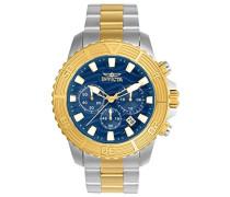24002 Pro Diver Uhr Edelstahl Quarz blauen Zifferblat