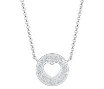 Premium Kette mit Anhänger Münze Herz 925 Silber rhodiniert Swarovski Kristalle weiß Facettenschliff 45 cm 0101170317_45