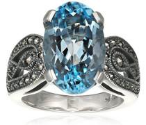 Ring 925 Silber vintage-oxidized Topas blau Markasit 52 (16.6) - L0134R/90/W4/52