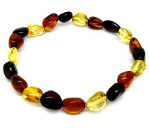 Halskette Bernstein, mehrfarbig, erweiterbar