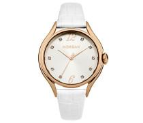 – m1217wrg Armbanduhr 045J699 Analog silber – Armband Leder Weiß