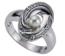 Pearls Damenring aus 1 Süßwasserzuchtperle und 22 weißen Zirkonias W:-58 273270650-1-058