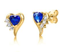 Ohrstecker 925 Sterling- Silber Herzschliff Blau Synthetischer Saphir