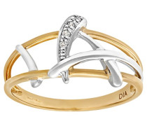 Damen-Ring 375 Gelbgold Diamant 9 Karat