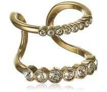 Damen-Ring vergoldet Kristall transparent