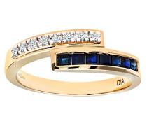 Damen-Ring 9 K Gelbgold P1 Diamant Saphir
