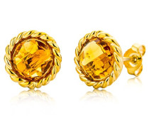 Ohrstecker Ohrringe 9 Karat ( 375 ) Citrin Quartz 4.0 Ct Gelbgold Quarz orange Rundschliff - MNA9049E