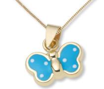 Kinder-Halskette Schmetterling 750 Gelbgold blau emailliert 45 cm MK009P