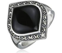 Ring 925 Silber vintage-oxidized Onyx schwarz Markasit 54 (17.2) - L0127R/90/B6/54