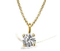 Kette mit Anhänger Solitär Jana Solitär Halskette Jana 0.15 ct. 585 Gelbgold Diamant (0.15 ct) weiß Brillantschliff Schmuck Diamantkette