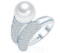 Ring 925 Silber rhodiniert Zirkonia weiß Perle Süßwasser-Zuchtperle Creme