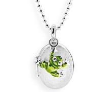 Medaillon MyName zum aufklappen Silber eismatt mit lackiertem Froscheinhänger ohne Gravur LD MY 353 1