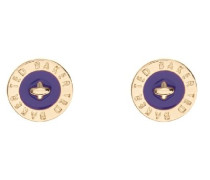 Damen Ohrringe Gold Violett Emaille Logo