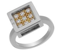Ring 925 Sterling Silber Zweifarbig mit Zirkonia weiss
