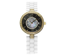 Armbanduhr - Analog Quarz - Premium Keramik Armband - Perlmutt Zifferblatt - Diamanten und Swarovski Elemente - STM15SM11
