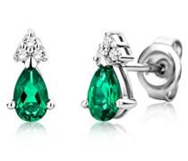 Ohrringe Weißgold 9 Karat / 375 Gold Ohrstecker Smaragd mit Diamant Brillianten