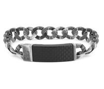 Carbon ID grumetter Armband in oxidiertes Silber von 18 cm