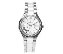 Armbanduhr Weiß Analog Quarz Premium Keramik Diamanten in Weiß - STM15Y1