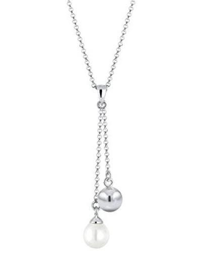 Halskette mit Anhänger Y Kette Perle Kugel Elegant Glamour Zeitlos silber 925